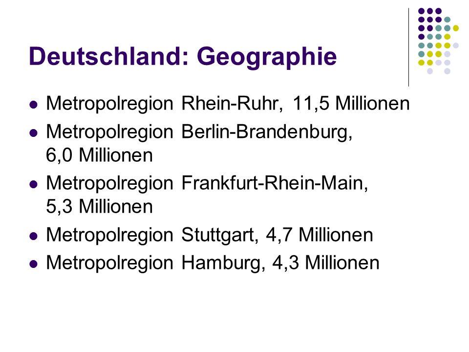 Deutschland: Geographie Metropolregion Rhein-Ruhr, 11,5 Millionen Metropolregion Berlin-Brandenburg, 6,0 Millionen Metropolregion Frankfurt-Rhein-Main, 5,3 Millionen Metropolregion Stuttgart, 4,7 Millionen Metropolregion Hamburg, 4,3 Millionen