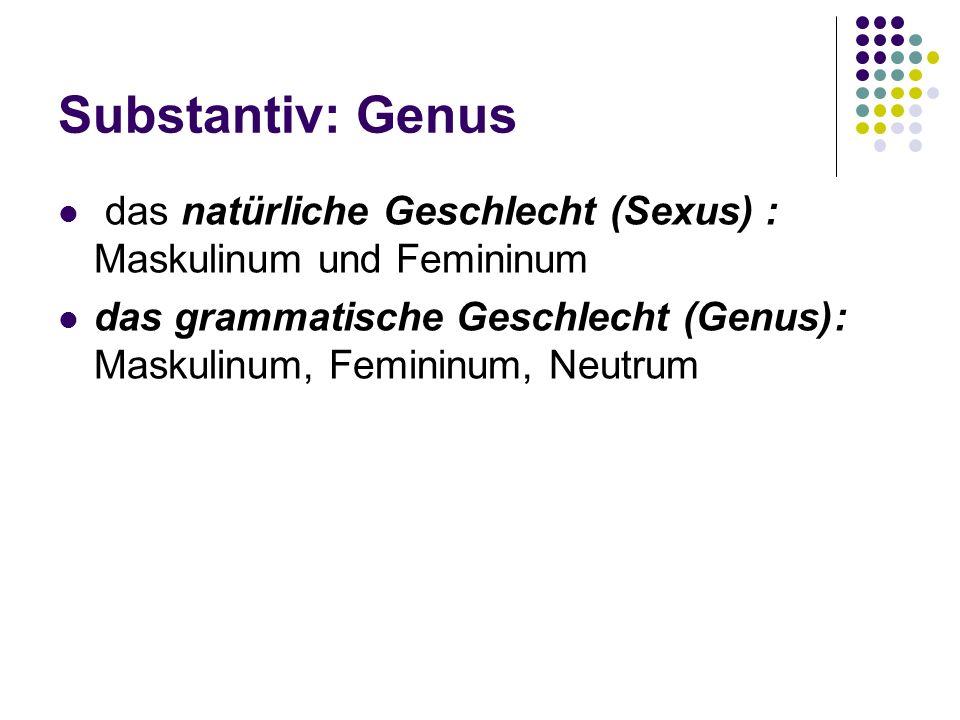 Substantiv: Genus das natürliche Geschlecht (Sexus) : Maskulinum und Femininum das grammatische Geschlecht (Genus): Maskulinum, Femininum, Neutrum