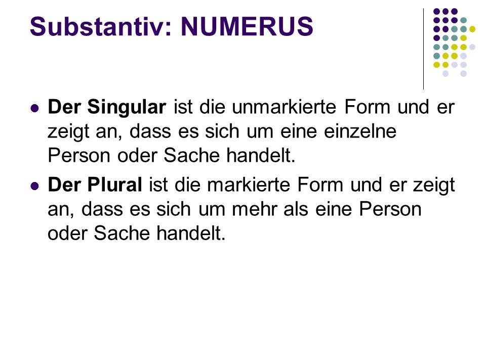 Substantiv: NUMERUS Der Singular ist die unmarkierte Form und er zeigt an, dass es sich um eine einzelne Person oder Sache handelt.