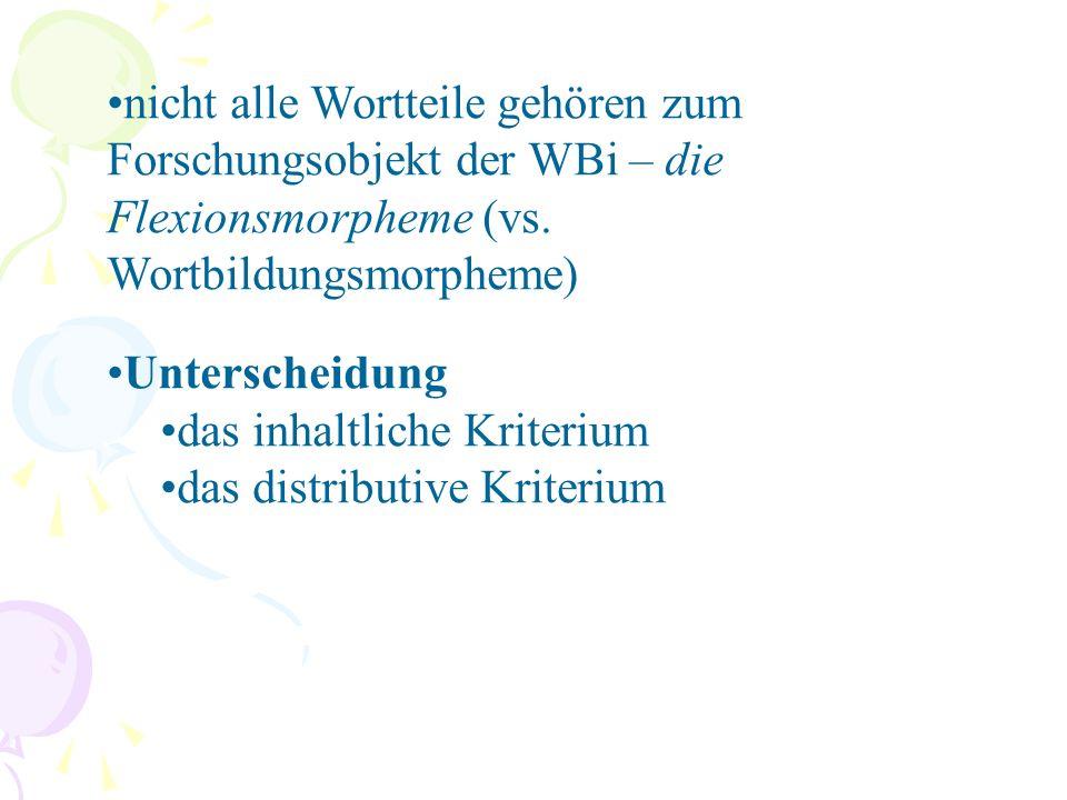 nicht alle Wortteile gehören zum Forschungsobjekt der WBi – die Flexionsmorpheme (vs.