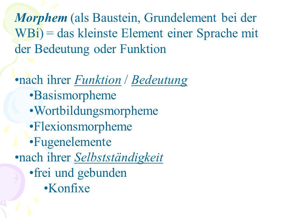 Morphem (als Baustein, Grundelement bei der WBi) = das kleinste Element einer Sprache mit der Bedeutung oder Funktion nach ihrer Funktion / Bedeutung Basismorpheme Wortbildungsmorpheme Flexionsmorpheme Fugenelemente nach ihrer Selbstständigkeit frei und gebunden Konfixe