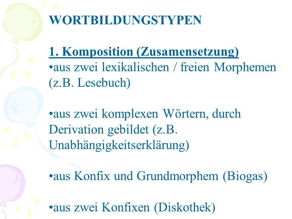 WORTBILDUNGSTYPEN 1. Komposition (Zusamensetzung) aus zwei lexikalischen / freien Morphemen (z.B.