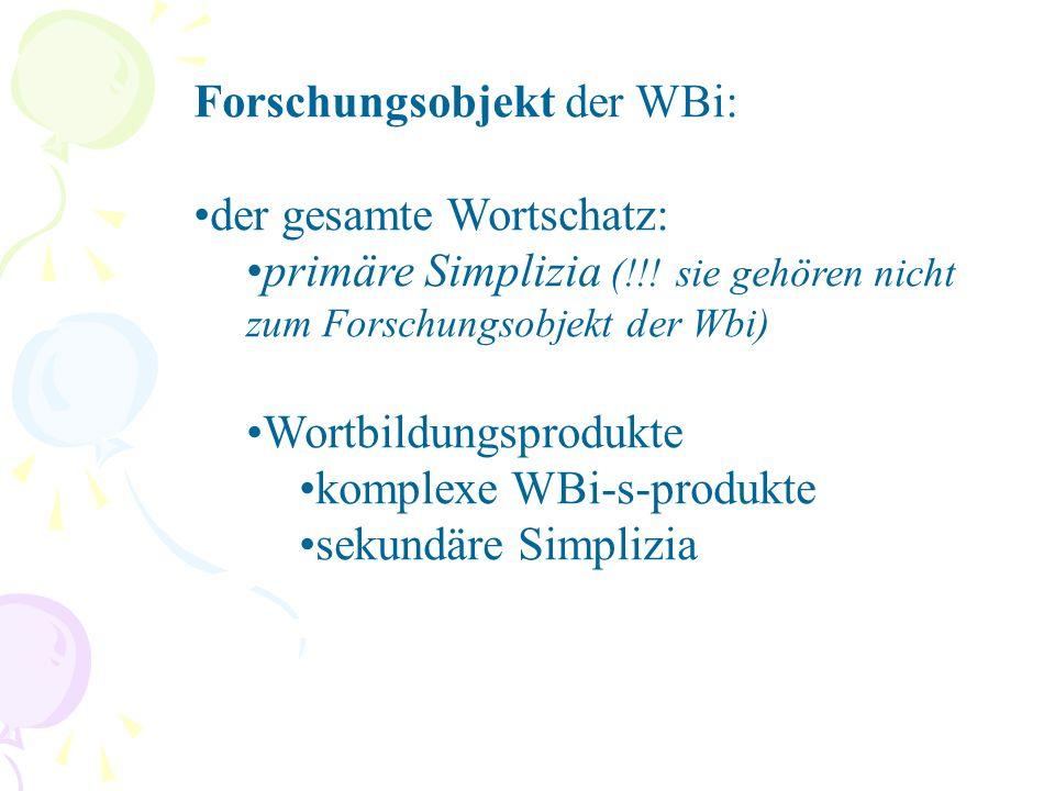 Wortbildungsmodelle: Nach Fleischer, Barz (1995, 53): Ein WBi-s-modell ist ein morphologisch- syntaktisch und lexikalisch-semantisch bestimmtes Strukturschema, nach dem Reihen gleichstrukturierter WBi-s-produkte mit unterschiedlichem lexikalischem Material erzeugt werden können; vgl.