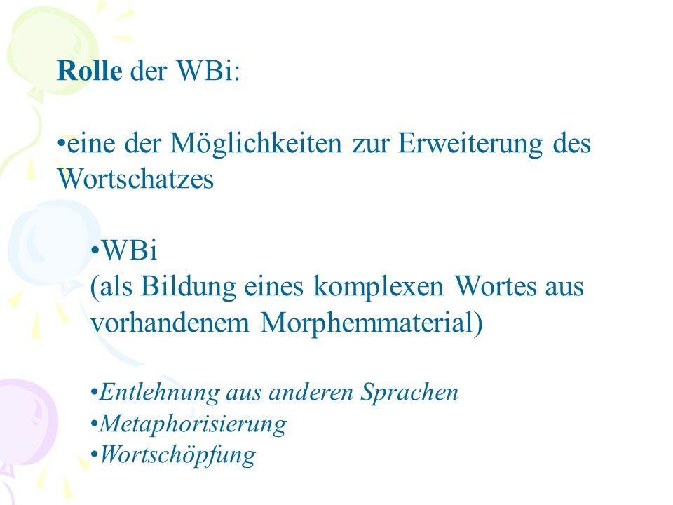 Sonderfälle ein Buchstabe (S-Bahn) ein Satz (Lauf-dich-gesund-Bewegung) alle Wortarten miteinander kombiniert