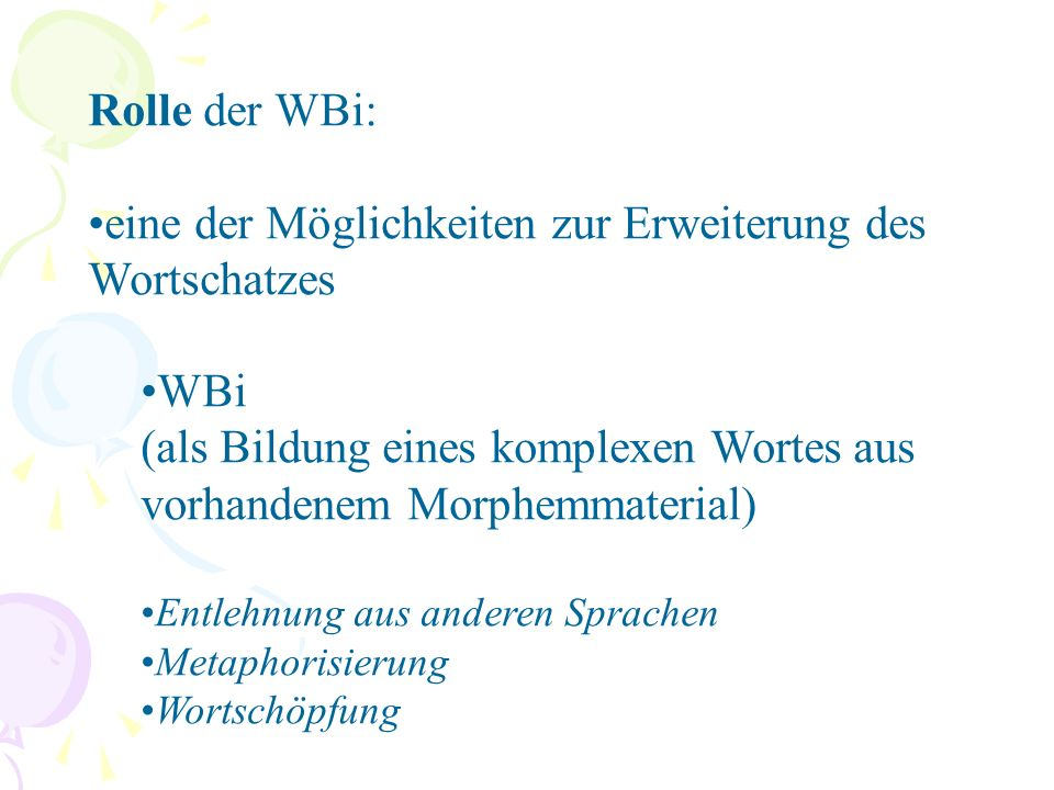 Wortbildung vs.