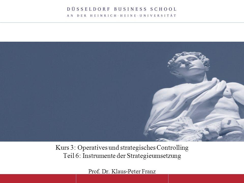 Kurs 3: Operatives und strategisches Controlling Teil 6: Instrumente der Strategieumsetzung Prof.