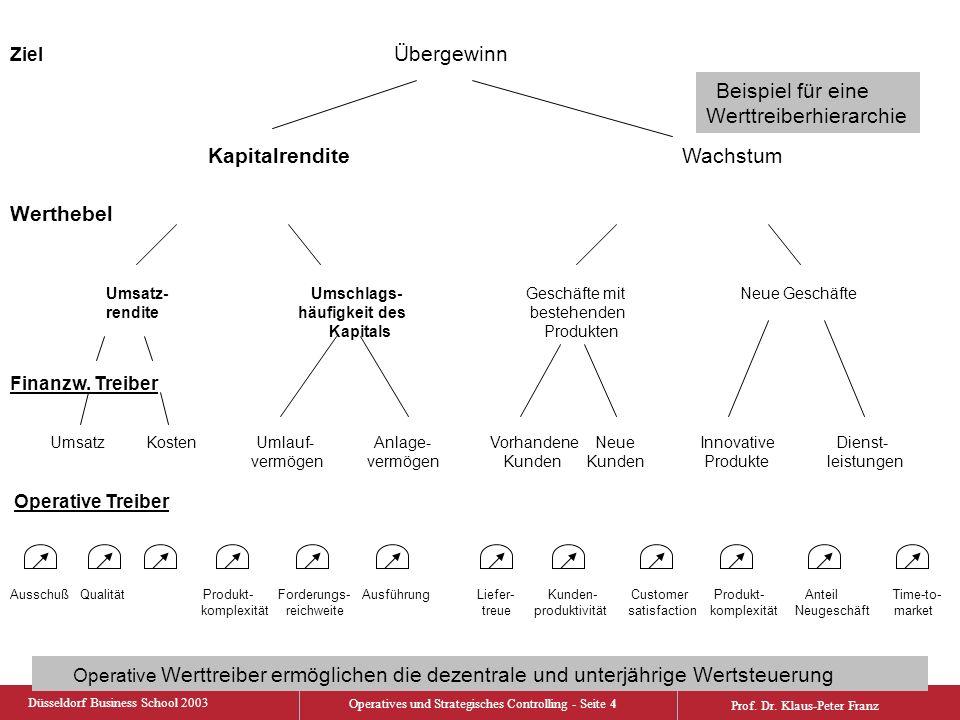 Düsseldorf Business School 2003 Operatives und Strategisches Controlling - Seite 5 Prof.