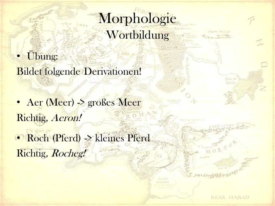 Morphologie Wortbildung Übung: Bildet folgende Derivationen.