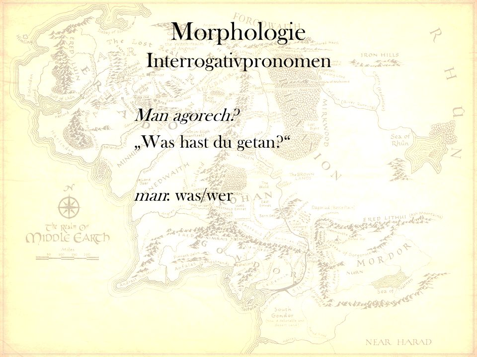 "Morphologie Interrogativpronomen Man agorech ""Was hast du getan man: was/wer"