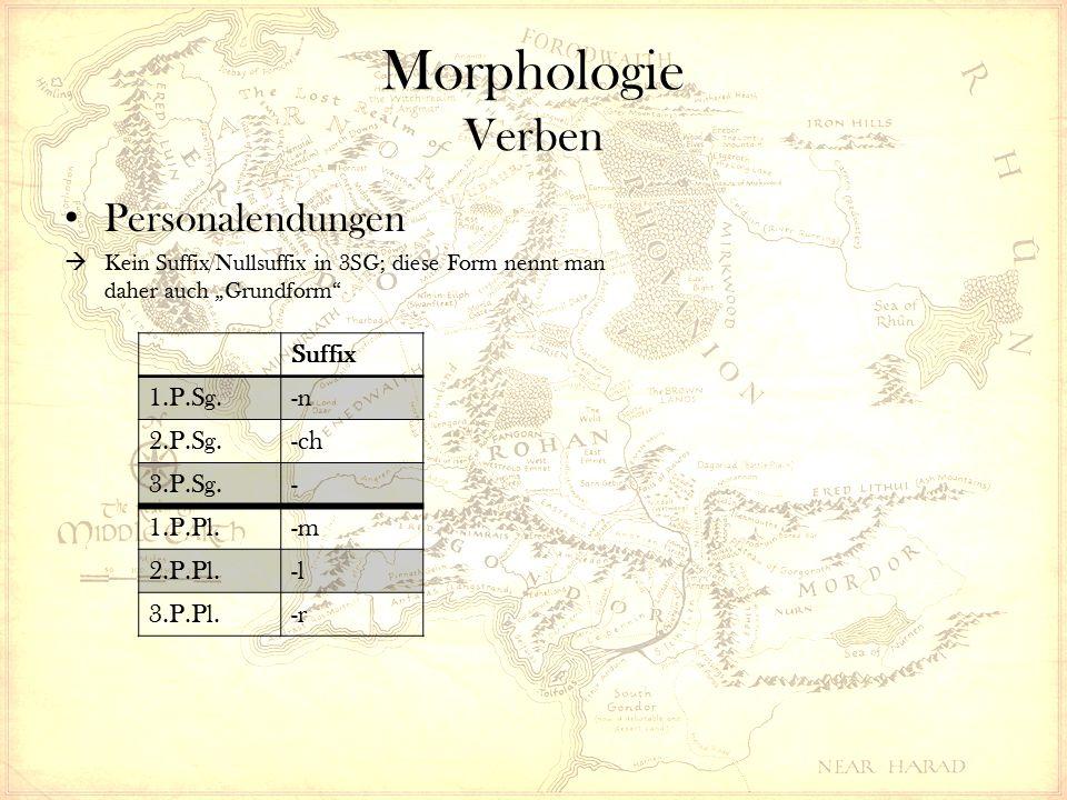 """Morphologie Verben Personalendungen  Kein Suffix/Nullsuffix in 3SG; diese Form nennt man daher auch """"Grundform Suffix 1.P.Sg.-n 2.P.Sg.-ch 3.P.Sg.- 1.P.Pl.-m 2.P.Pl.-l 3.P.Pl.-r"""