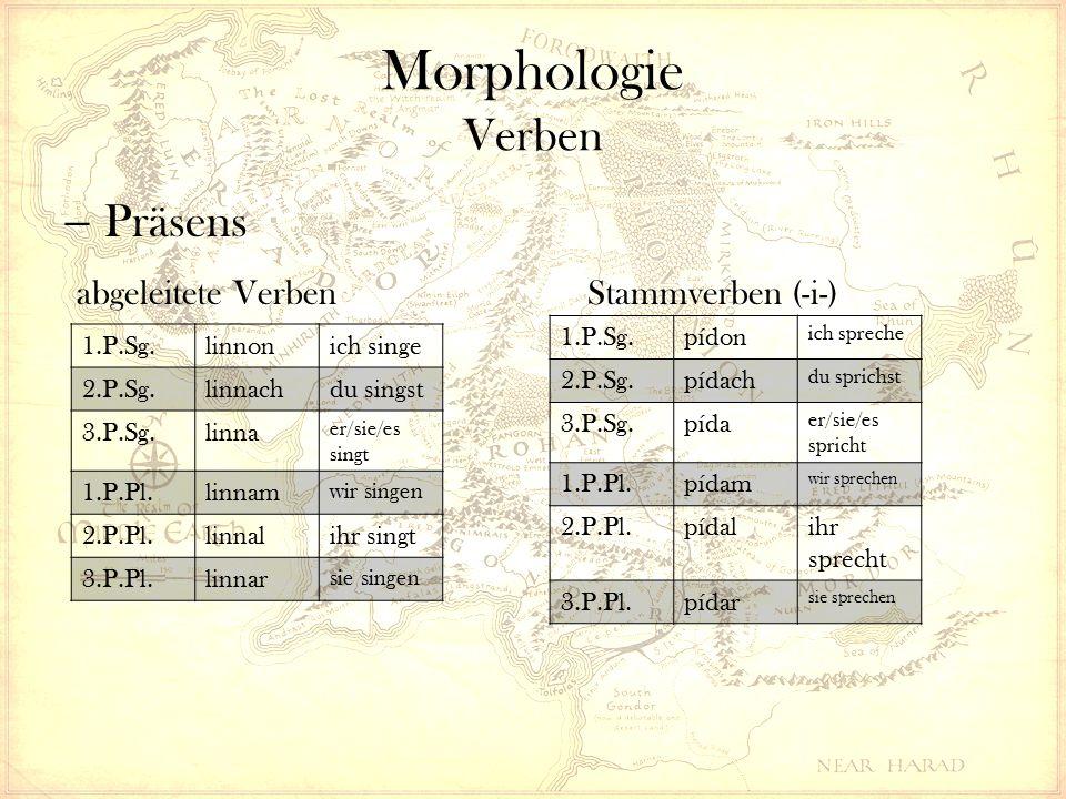 Morphologie Verben  Präteritum Abgeleitete Verben Stammverben ( Nasal-Infix ) 1.P.Sg.