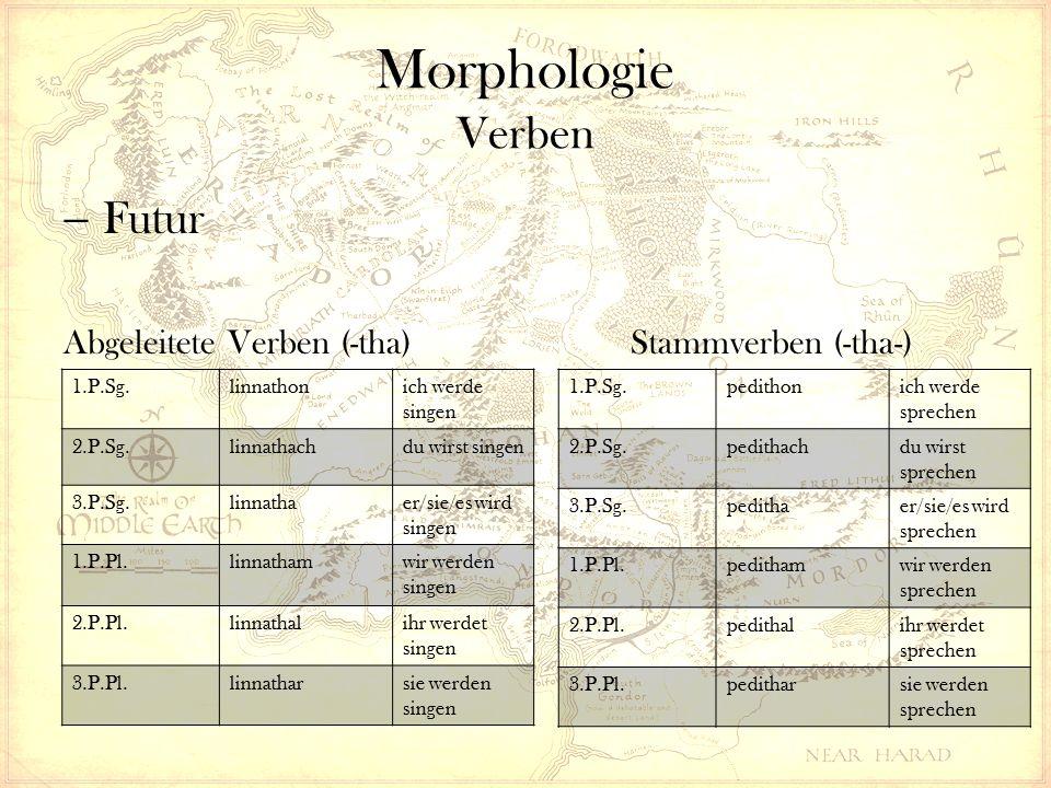 Morphologie Verben  Futur Abgeleitete Verben (-tha) Stammverben (-tha-) 1.P.Sg.linnathonich werde singen 2.P.Sg.linnathachdu wirst singen 3.P.Sg.linnathaer/sie/es wird singen 1.P.Pl.linnathamwir werden singen 2.P.Pl.linnathalihr werdet singen 3.P.Pl.linnatharsie werden singen 1.P.Sg.pedithonich werde sprechen 2.P.Sg.pedithachdu wirst sprechen 3.P.Sg.pedithaer/sie/es wird sprechen 1.P.Pl.pedithamwir werden sprechen 2.P.Pl.pedithalihr werdet sprechen 3.P.Pl.peditharsie werden sprechen