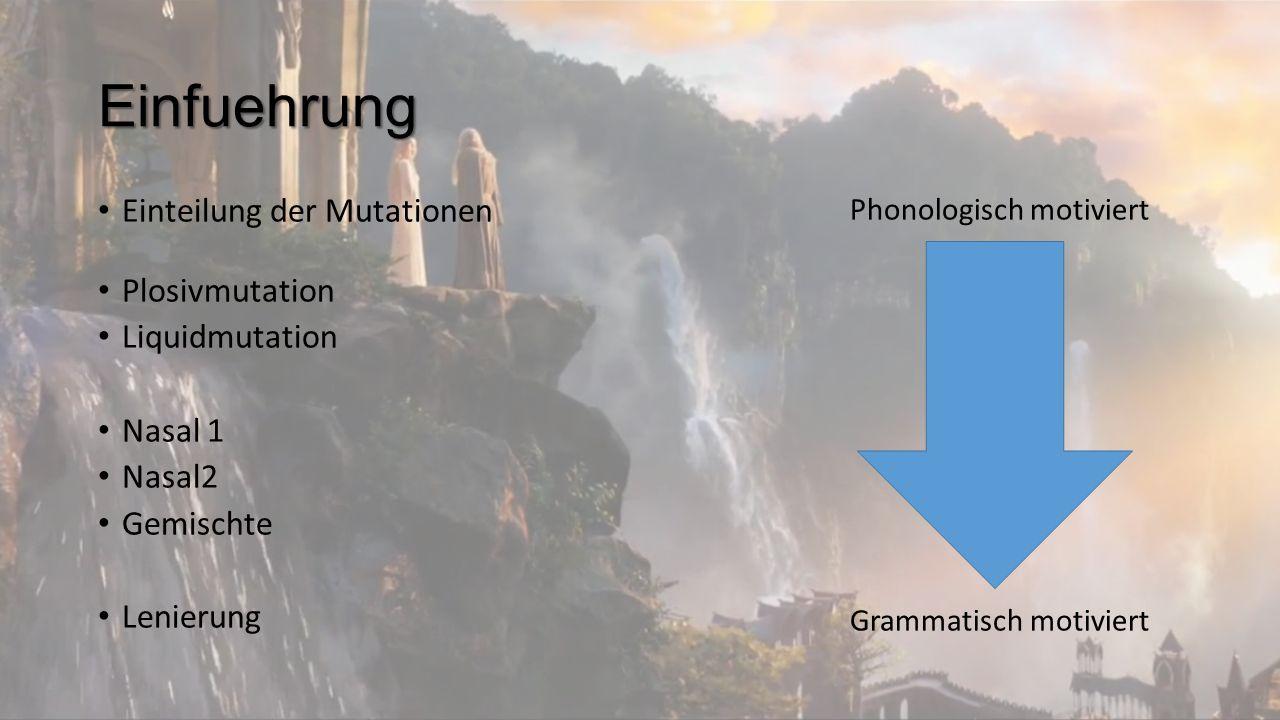 Einfuehrung Einteilung der Mutationen Plosivmutation Liquidmutation Nasal 1 Nasal2 Gemischte Lenierung Phonologisch motiviert Grammatisch motiviert