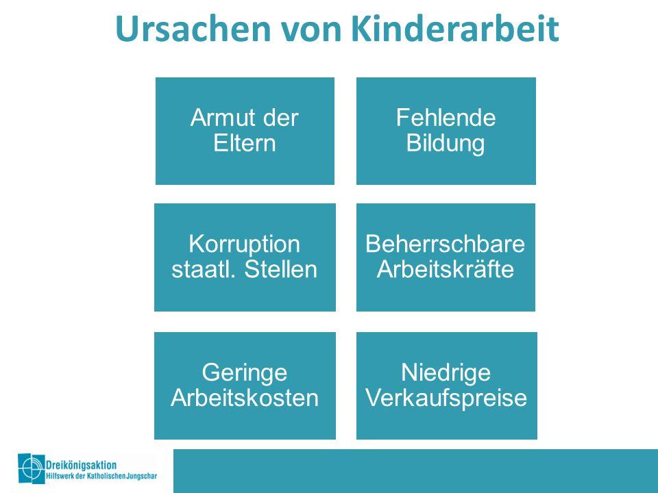 Ursachen von Kinderarbeit Armut der Eltern Geringe Arbeitskosten Korruption staatl.
