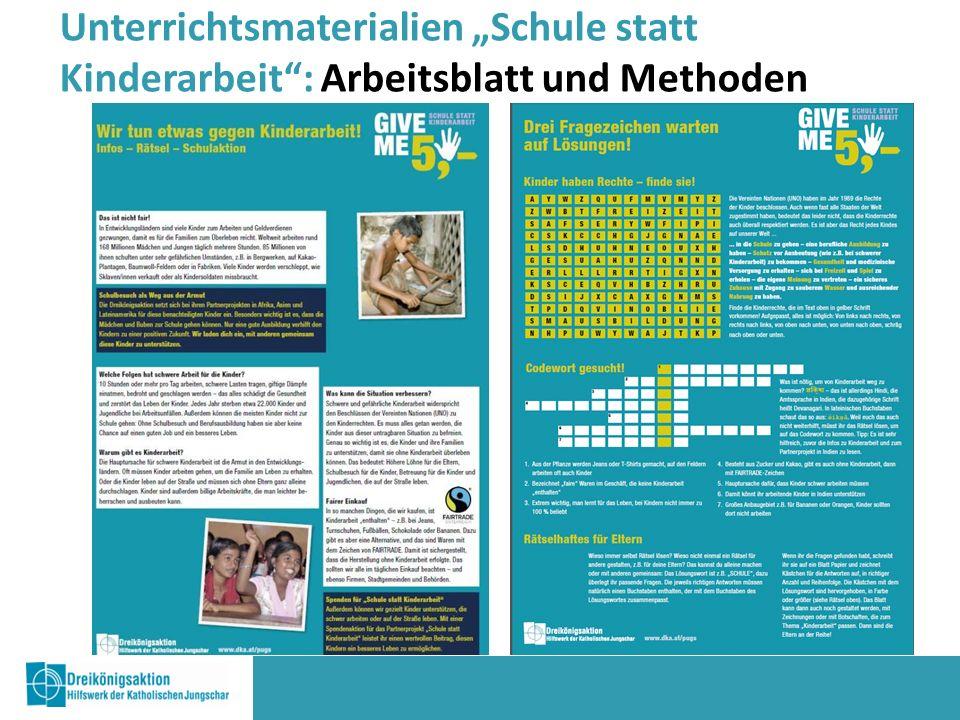 """Unterrichtsmaterialien """"Schule statt Kinderarbeit : Arbeitsblatt und Methoden"""