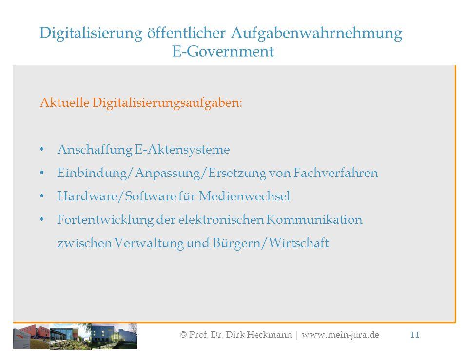© Prof. Dr. Dirk Heckmann  www.mein-jura.de 11 Digitalisierung öffentlicher Aufgabenwahrnehmung E-Government Aktuelle Digitalisierungsaufgaben: Ansch