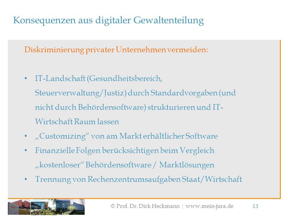 © Prof. Dr. Dirk Heckmann  www.mein-jura.de 13 Konsequenzen aus digitaler Gewaltenteilung Diskriminierung privater Unternehmen vermeiden: IT-Landscha