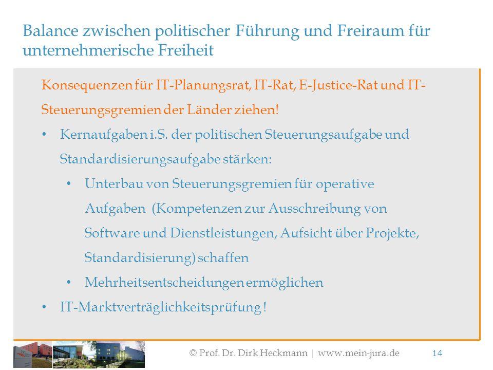 © Prof. Dr. Dirk Heckmann  www.mein-jura.de 14 Balance zwischen politischer Führung und Freiraum für unternehmerische Freiheit Konsequenzen für IT-Pl