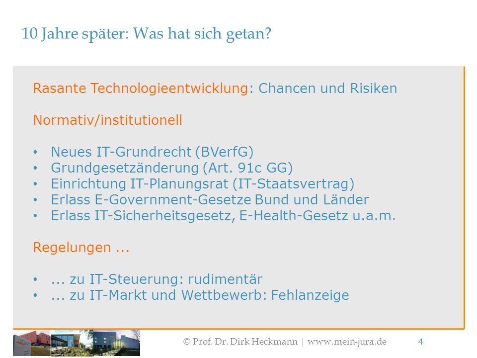 © Prof. Dr. Dirk Heckmann  www.mein-jura.de 4 10 Jahre später: Was hat sich getan? Rasante Technologieentwicklung: Chancen und Risiken Normativ/insti