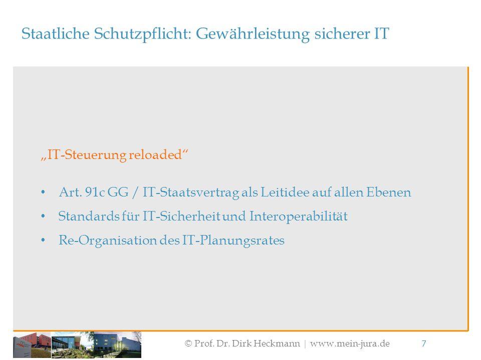"""© Prof. Dr. Dirk Heckmann  www.mein-jura.de 7 Staatliche Schutzpflicht: Gewährleistung sicherer IT """"IT-Steuerung reloaded"""" Art. 91c GG / IT-Staatsver"""