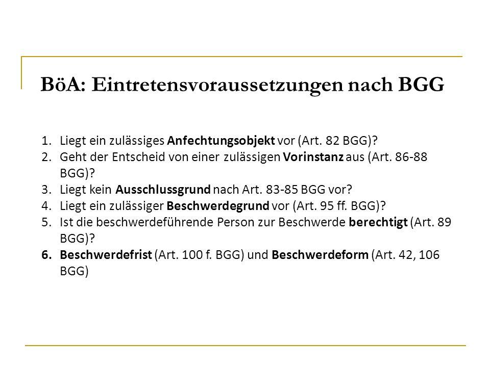BöA: Eintretensvoraussetzungen nach BGG 1.Liegt ein zulässiges Anfechtungsobjekt vor (Art. 82 BGG)? 2.Geht der Entscheid von einer zulässigen Vorinsta
