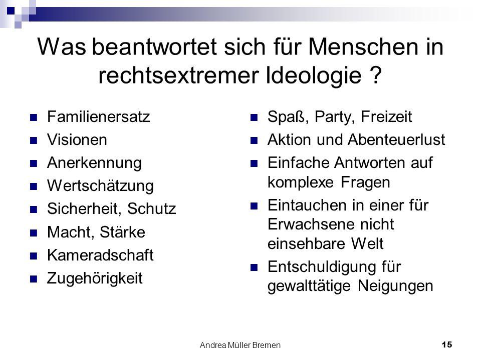 Andrea Müller Bremen15 Was beantwortet sich für Menschen in rechtsextremer Ideologie .