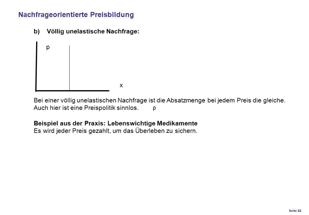 Seite 22 K27 – Preis- und Konditionsgestaltung p Nachfrageorientierte Preisbildung b) Völlig unelastische Nachfrage: p x Bei einer völlig unelastische