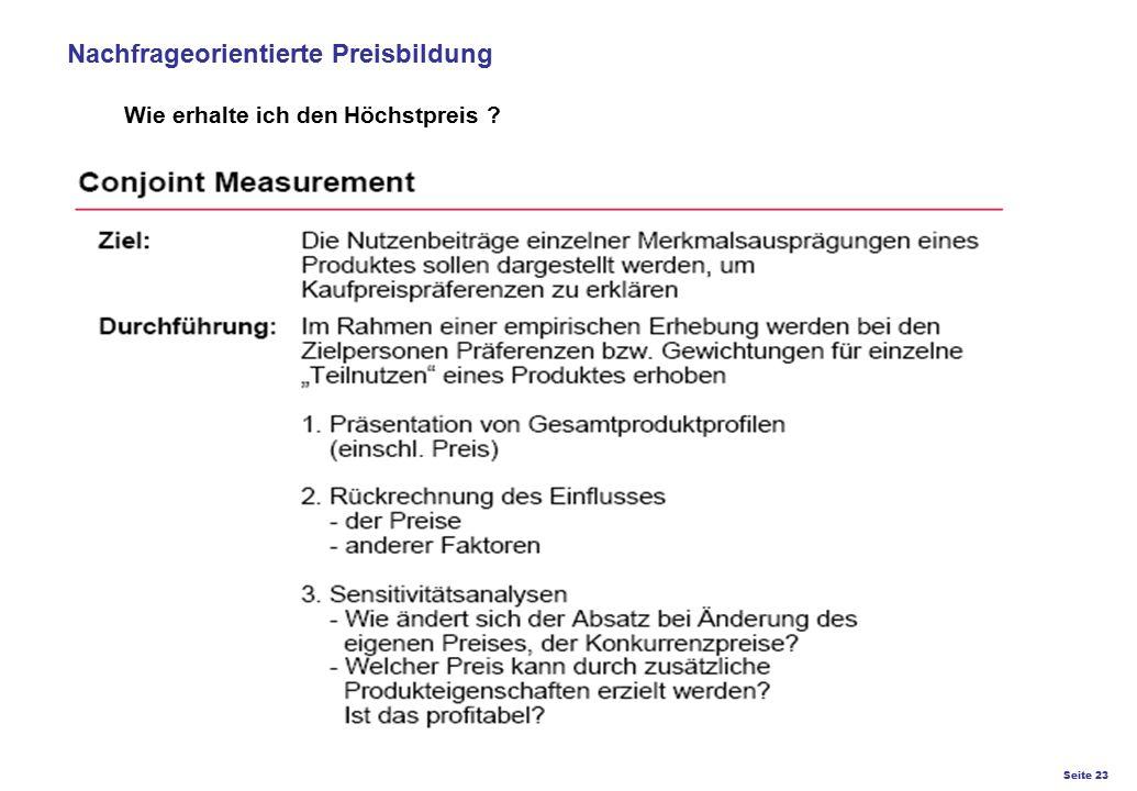 Seite 23 K27 – Preis- und Konditionsgestaltung Nachfrageorientierte Preisbildung Wie erhalte ich den Höchstpreis ?