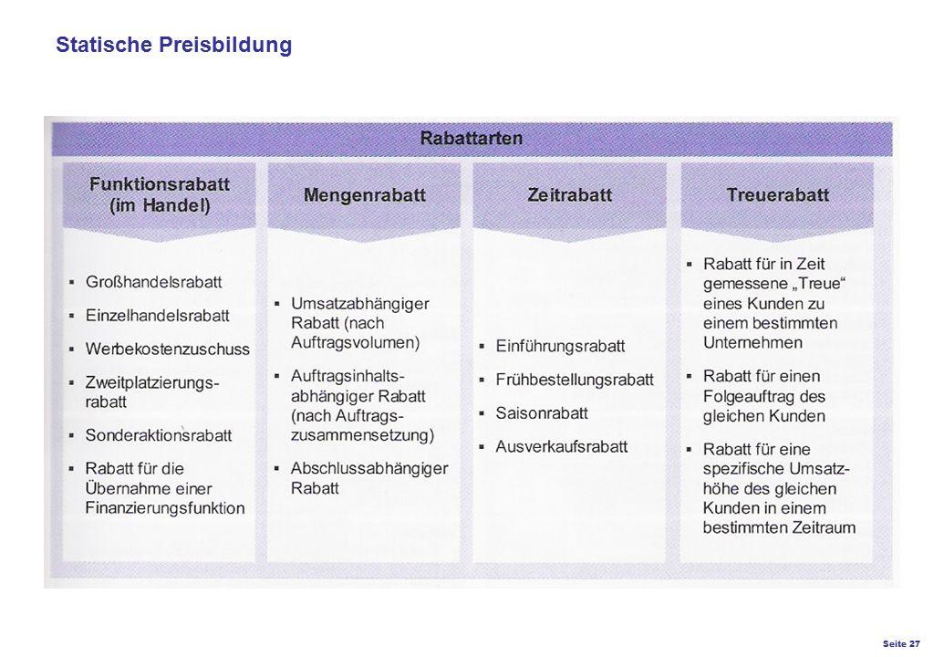 Seite 27 K27 – Preis- und Konditionsgestaltung Statische Preisbildung