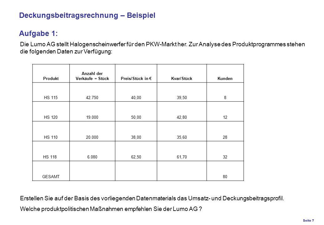 Seite 7 K27 – Preis- und Konditionsgestaltung Deckungsbeitragsrechnung – Beispiel Aufgabe 1: Die Lumo AG stellt Halogenscheinwerfer für den PKW-Markt