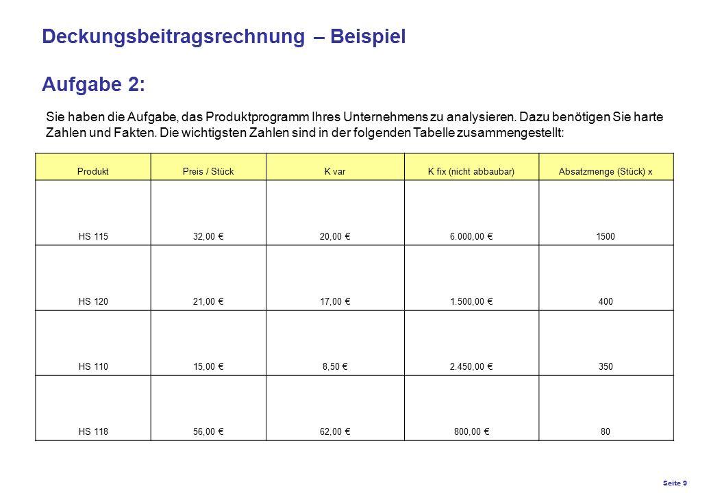 Seite 9 K27 – Preis- und Konditionsgestaltung Deckungsbeitragsrechnung – Beispiel Aufgabe 2: Sie haben die Aufgabe, das Produktprogramm Ihres Unterneh
