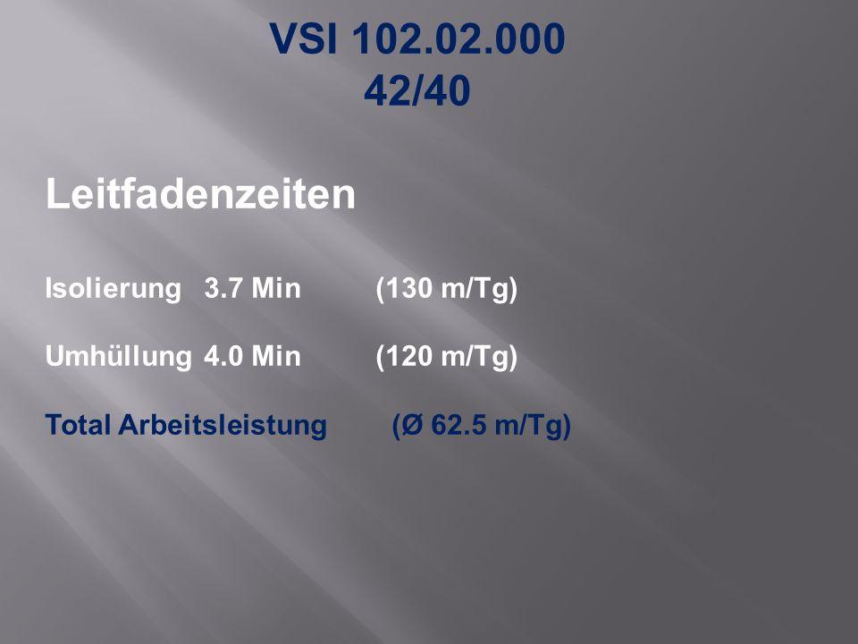 VSI 102.02.000 42/40 Leitfadenzeiten Isolierung 3.7 Min (130 m/Tg) Umhüllung4.0 Min(120 m/Tg) Total Arbeitsleistung (Ø 62.5 m/Tg)