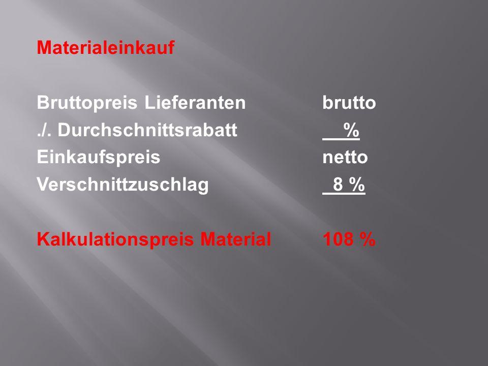 Materialeinkauf Bruttopreis Lieferantenbrutto./. Durchschnittsrabatt % Einkaufspreisnetto Verschnittzuschlag 8 % Kalkulationspreis Material108 %