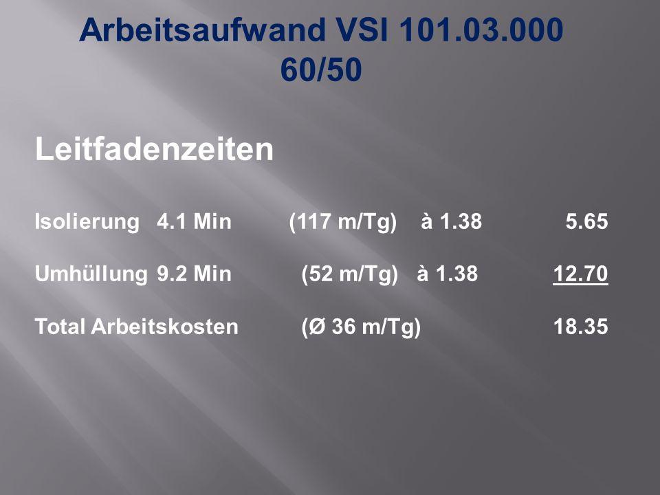 Arbeitsaufwand VSI 101.03.000 60/50 Leitfadenzeiten Isolierung 4.1 Min (117 m/Tg) à 1.38 5.65 Umhüllung9.2 Min (52 m/Tg) à 1.3812.70 Total Arbeitskosten (Ø 36 m/Tg)18.35