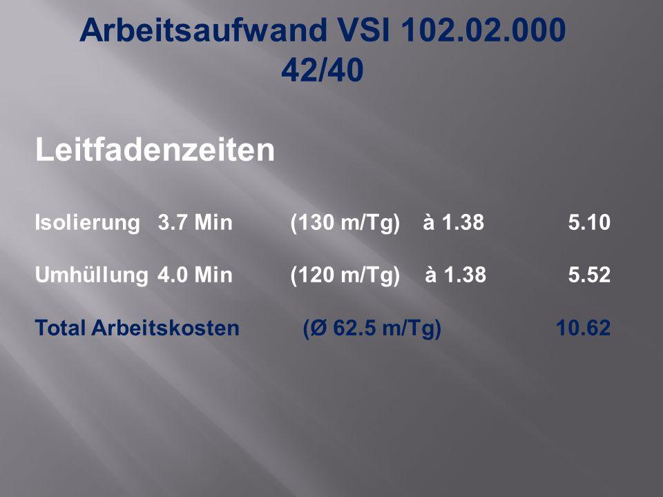 Arbeitsaufwand VSI 102.02.000 42/40 Leitfadenzeiten Isolierung 3.7 Min (130 m/Tg) à 1.38 5.10 Umhüllung4.0 Min(120 m/Tg) à 1.38 5.52 Total Arbeitskosten (Ø 62.5 m/Tg)10.62