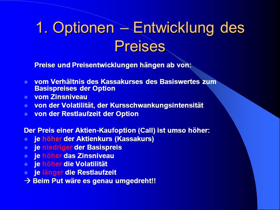 1. Optionen - Optionspreis Unabhängig davon, ob eine Option im, am oder aus dem Geld ist, muss der Zeitwert betrachtet werden. Er spielt eine wichtige