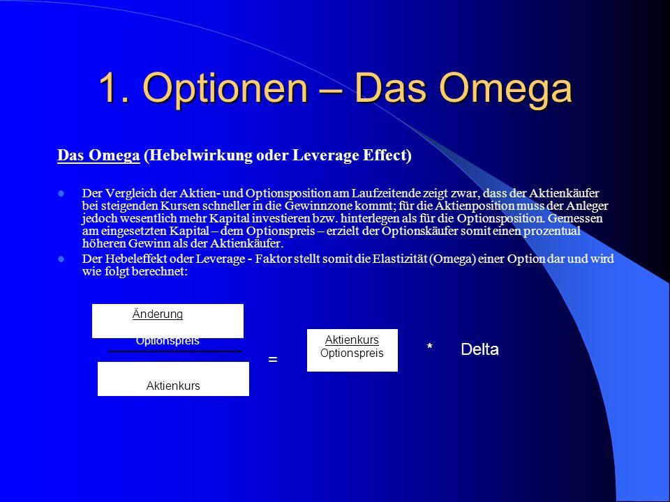 1. Optionen - Kennzahlen Für die Bewertung von Optionen werden verschiedene Berechnungsmodelle verwendet. Diese geben Aufschluss, mit welchen Risiken