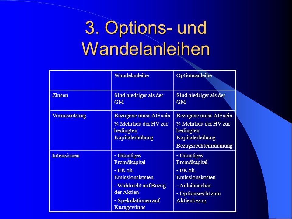 Options- und Wandelanleihe Der Aktienbezug Neben den typischen Ausstattungsmerkmalen des Anleihebestandteiles müssen bei Optionsanleihen in den Bedingungen für den Bezug festgelegt werden.