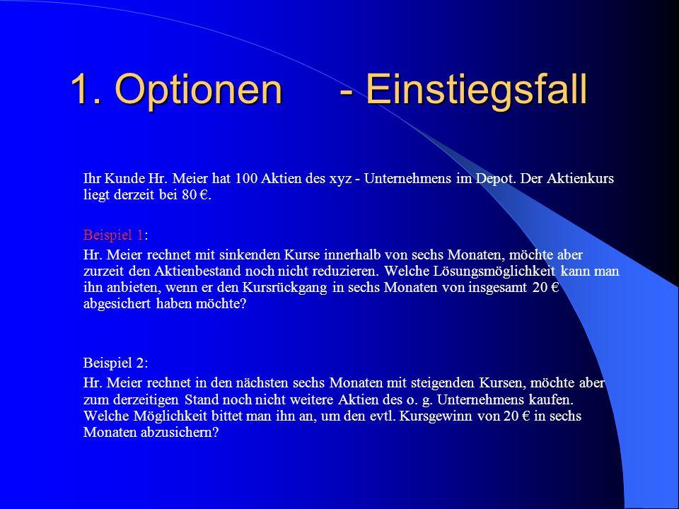 1.Optionen- Einstiegsfall Ihr Kunde Hr. Meier hat 100 Aktien des xyz - Unternehmens im Depot.