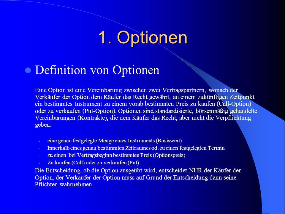 1. Optionen- Einstiegsfall Ihr Kunde Hr. Meier hat 100 Aktien des xyz - Unternehmens im Depot.