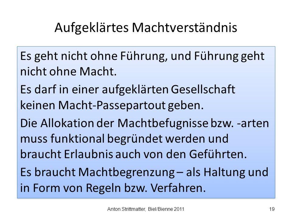 Aufgeklärtes Machtverständnis Anton Strittmatter, Biel/Bienne 201119 Es geht nicht ohne Führung, und Führung geht nicht ohne Macht.