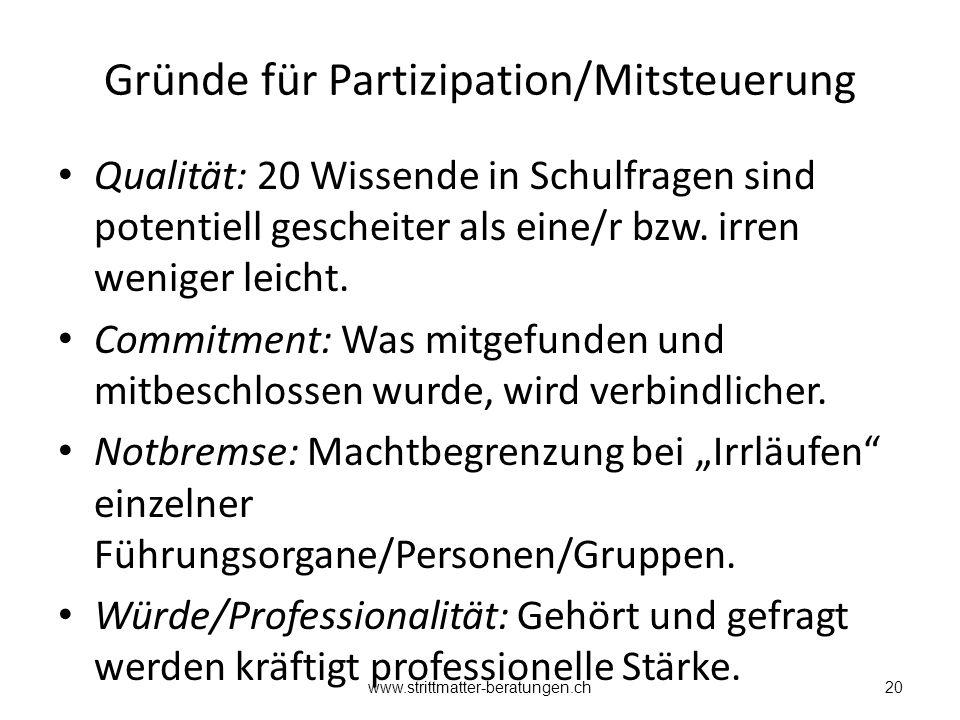 Gründe für Partizipation/Mitsteuerung Qualität: 20 Wissende in Schulfragen sind potentiell gescheiter als eine/r bzw.