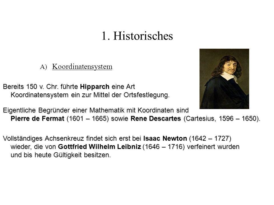 1. Historisches A) Koordinatensystem Eigentliche Begründer einer Mathematik mit Koordinaten sind Pierre de Fermat (1601 – 1665) sowie Rene Descartes (