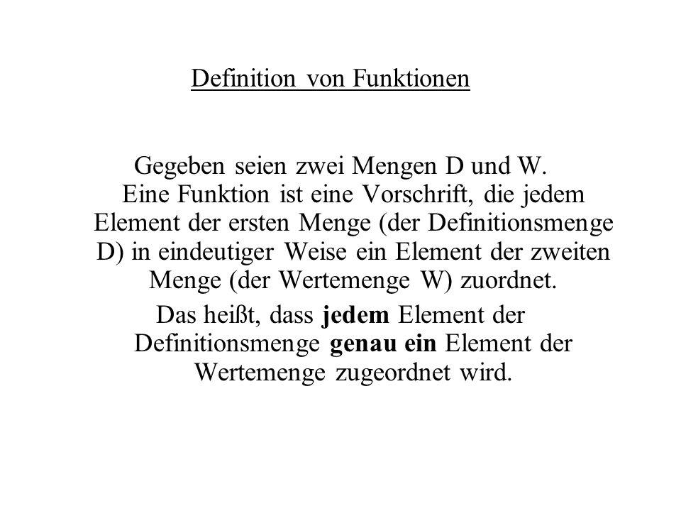 Definition von Funktionen Gegeben seien zwei Mengen D und W.