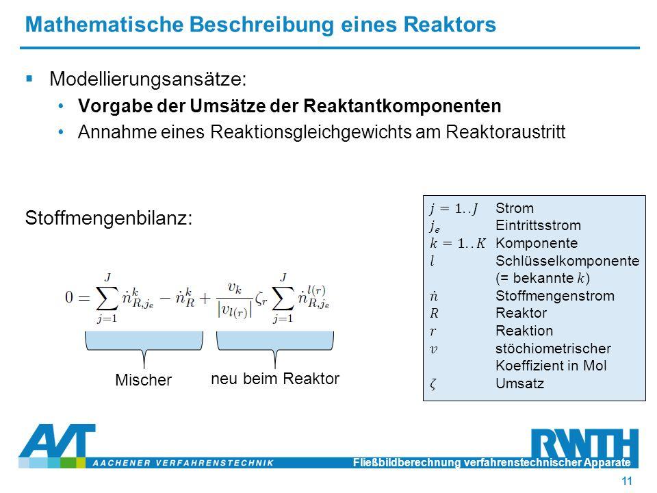 Mathematische Beschreibung eines Reaktors Fließbildberechnung verfahrenstechnischer Apparate 11 neu beim Reaktor Mischer