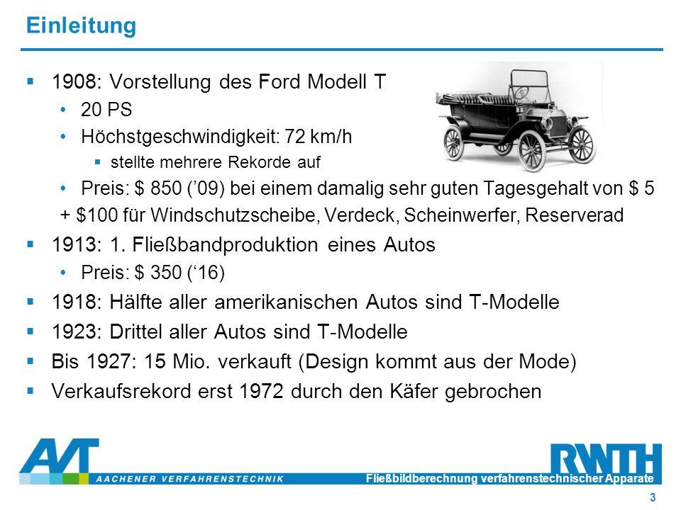 Einleitung  1908: Vorstellung des Ford Modell T 20 PS Höchstgeschwindigkeit: 72 km/h  stellte mehrere Rekorde auf Preis: $ 850 ('09) bei einem damalig sehr guten Tagesgehalt von $ 5 + $100 für Windschutzscheibe, Verdeck, Scheinwerfer, Reserverad  1913: 1.