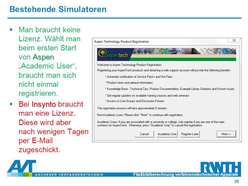 Bestehende Simulatoren Fließbildberechnung verfahrenstechnischer Apparate 30 Aspen  Man braucht keine Lizenz.