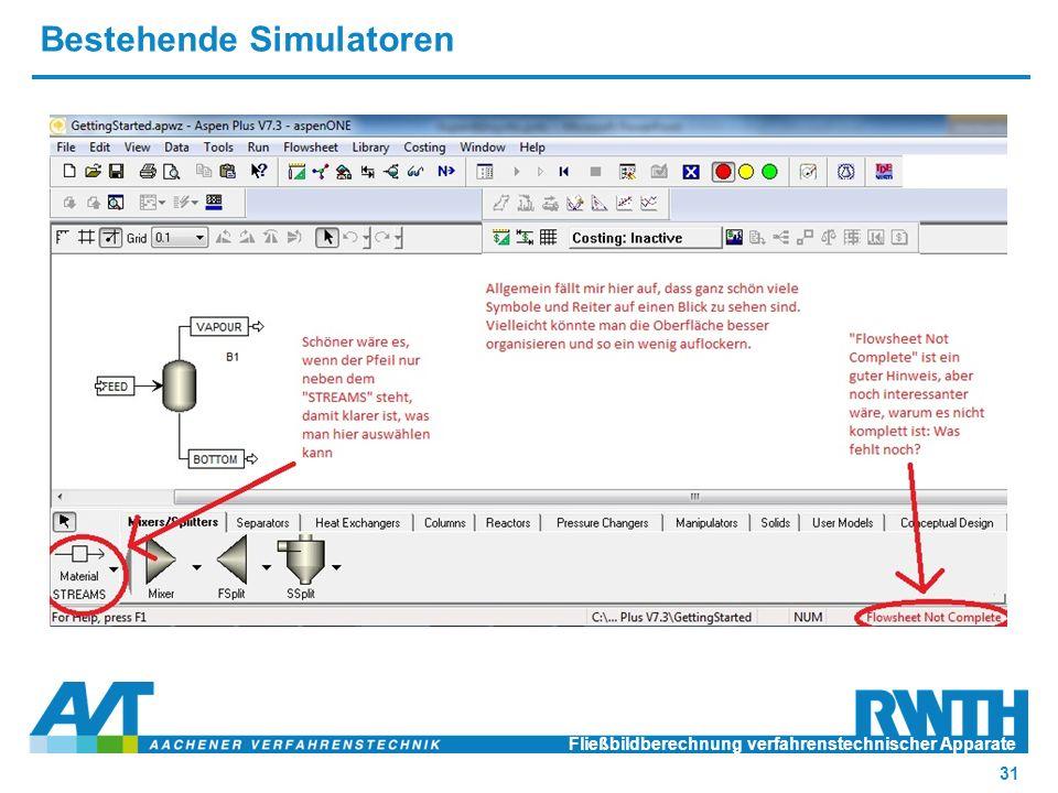 Bestehende Simulatoren Fließbildberechnung verfahrenstechnischer Apparate 31