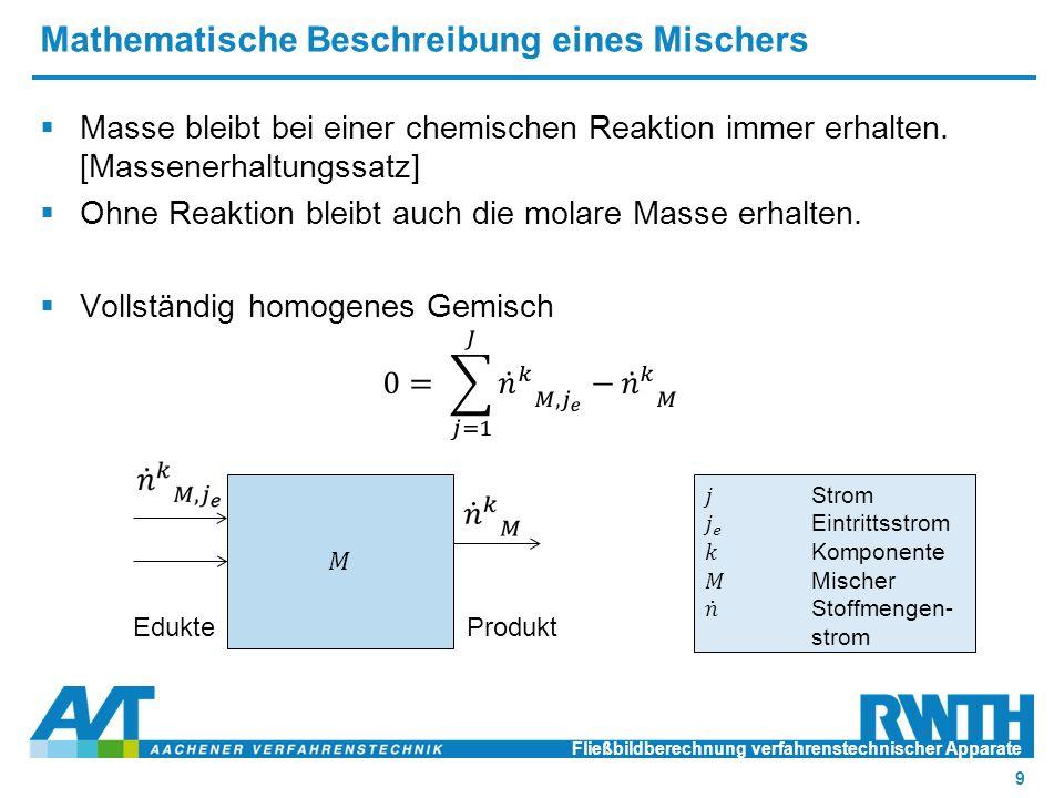 Mathematische Beschreibung eines Mischers Fließbildberechnung verfahrenstechnischer Apparate o3 Einführung 9 EdukteProdukt