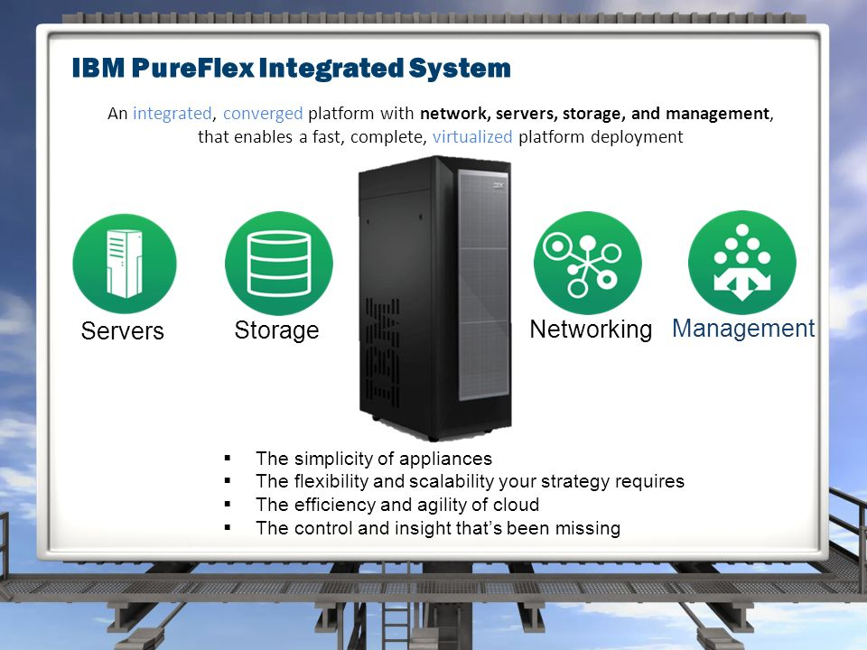 Management Servers Storage Networking  The simplicity of appliances  The flexibility and scalability your strategy requires  The efficiency and agility of cloud  The control and insight that's been missing An integrated, converged platform with network, servers, storage, and management, that enables a fast, complete, virtualized platform deployment IBM PureFlex Integrated System